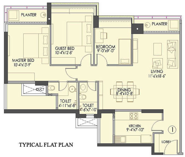 Floor Plan Typical Flat Plan 3 BHK